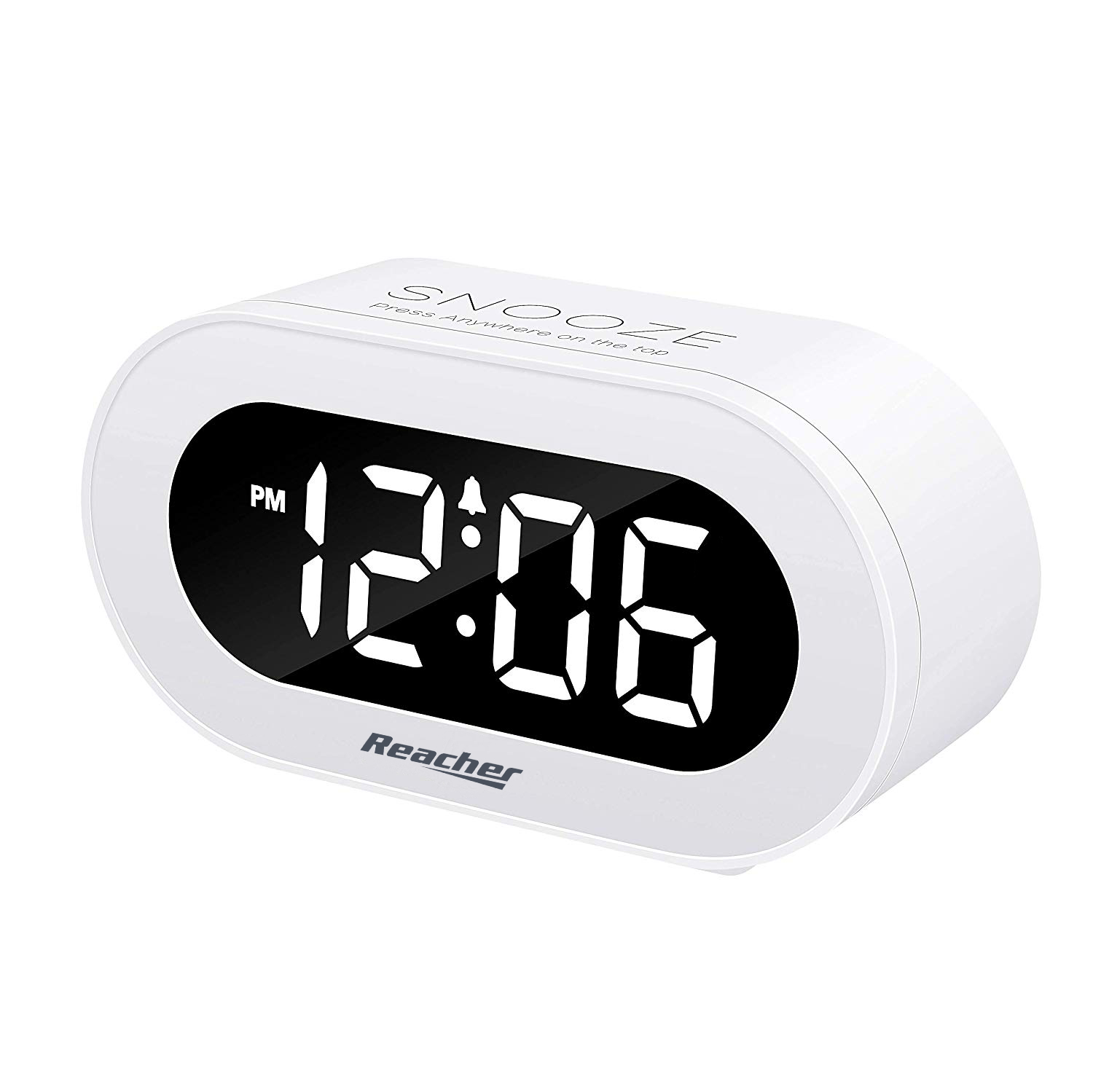 (N188)Reacher White Small LED Digital Alarm Clock with Snooze
